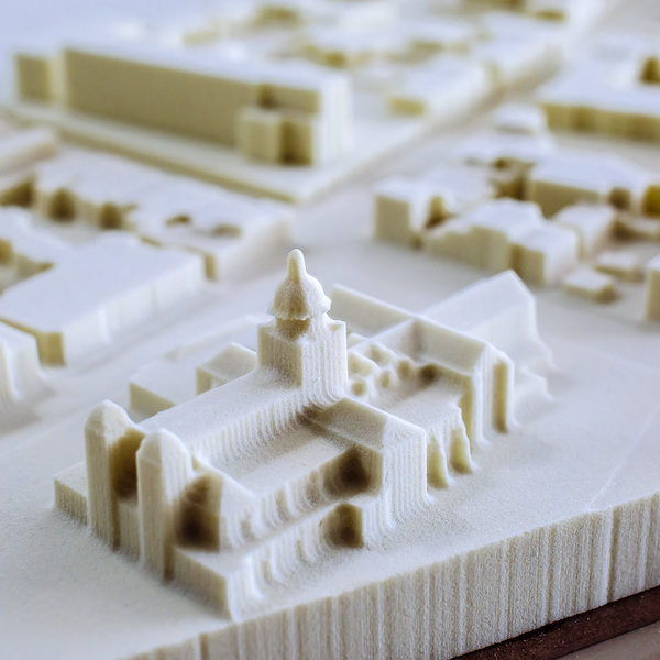 3d printer model of a new building and city