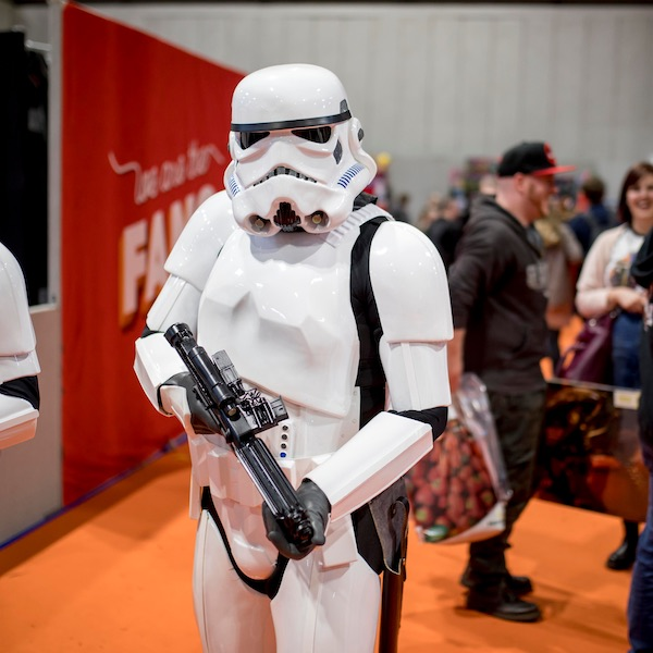Star Wars stormtrooper cosplayer, Birmingham UK