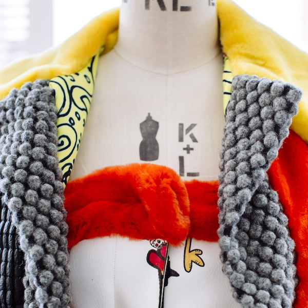 close-up fabric detail on fashionable jacket