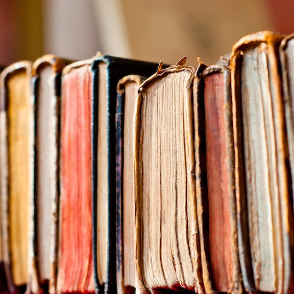 old books on a shelf, close-up