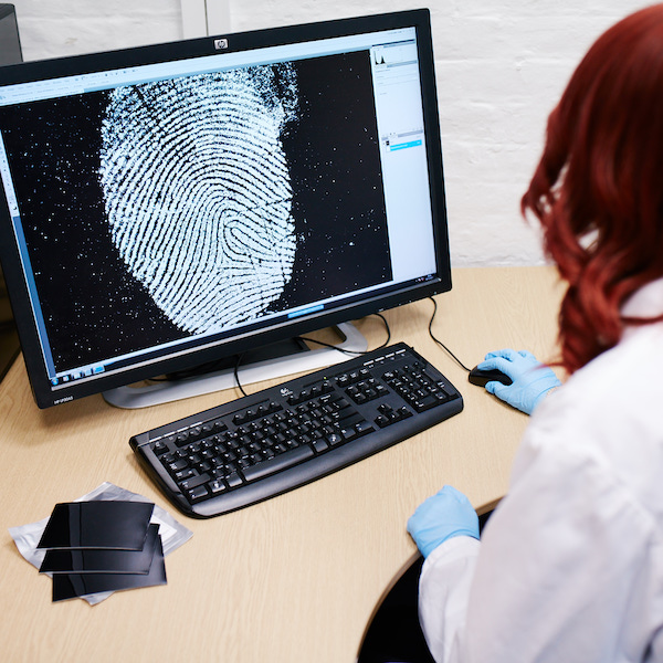 female forensics working studying fingerprint on computer