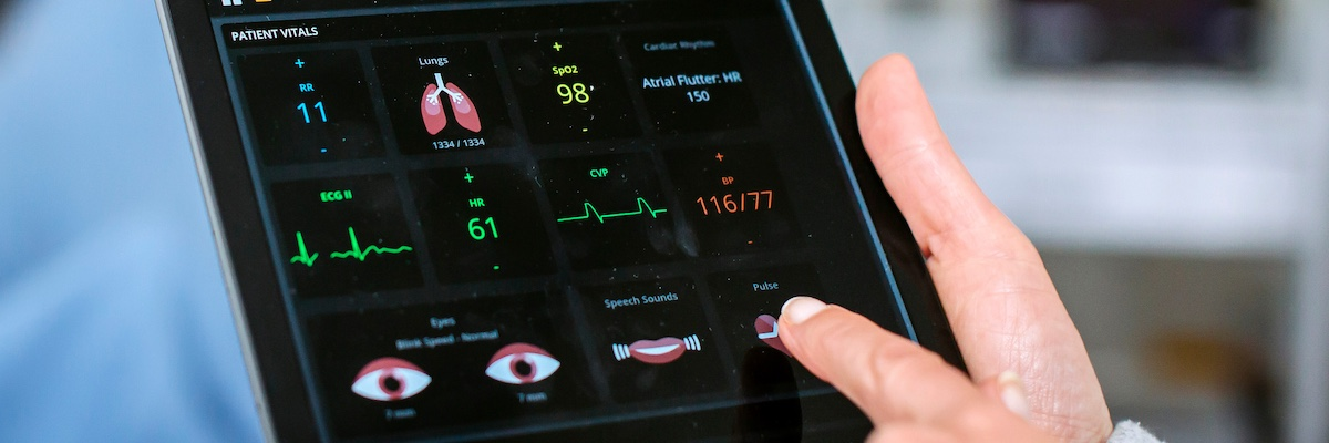 Patient's vital signs on tablet computer