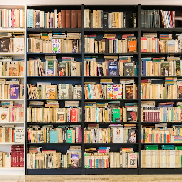 colourful book shelves in a library
