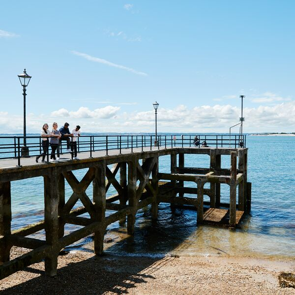 University of Portsmouth students on pier at Southsea beach