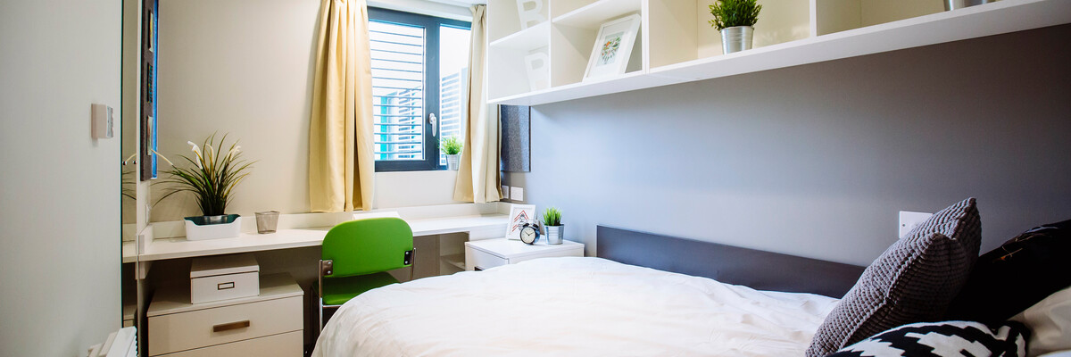 A bedroom in a halls of residence University of Portsmouth