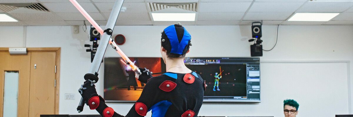 University of Portsmouth students in motion capture facilities