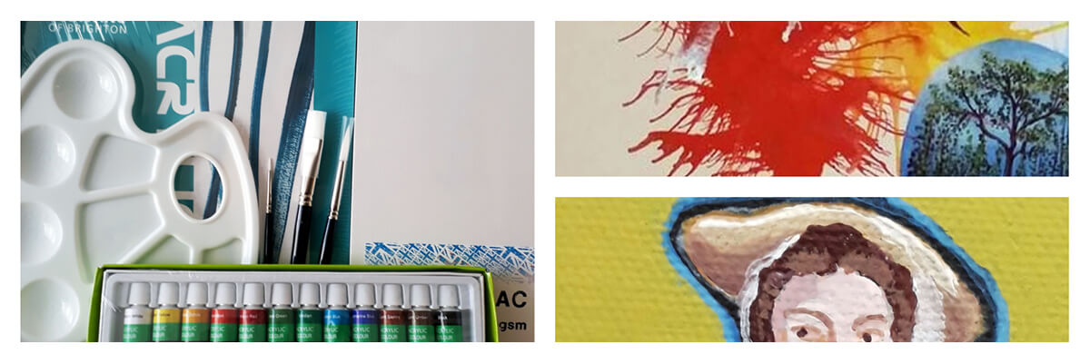 A collage showing acrylic paints, painting accessories and acrylic paint artwork