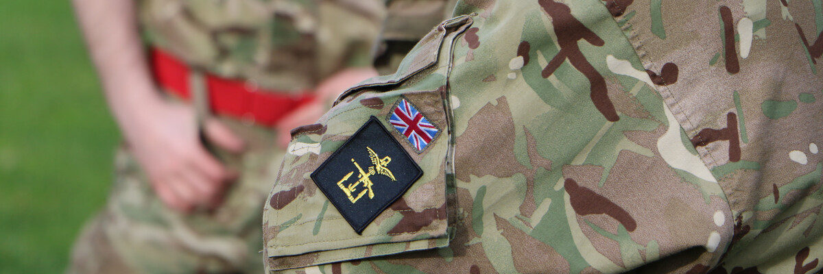 Close up on the military emblem on a soldiers arm band