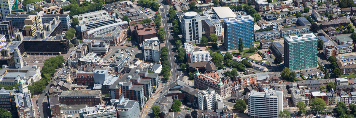 Aerial view of University of Portsmouth