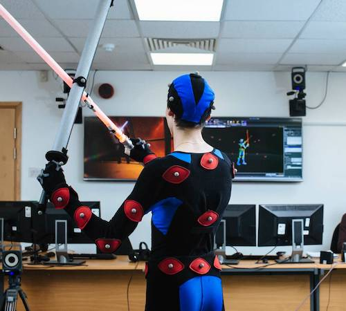Student in the motion capture studio