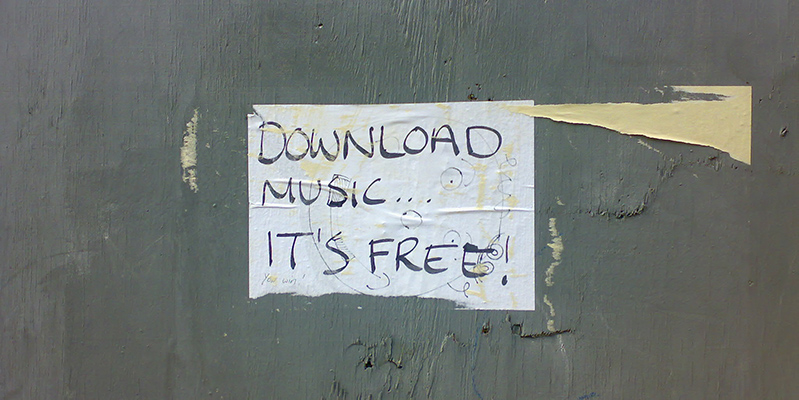 Poster with the words 'download music... it's free!'