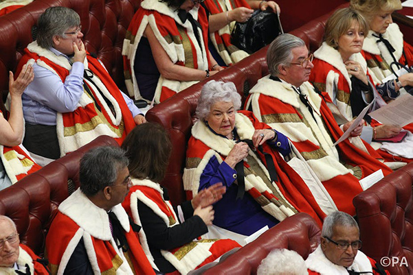 The House of Lords sitting and wearing robs