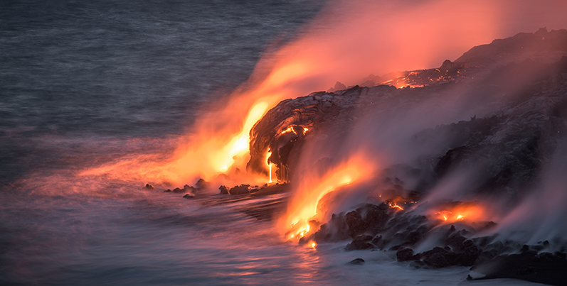 Lava moving towards the ocean