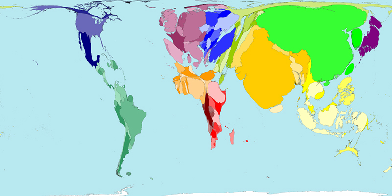 Colourful world map, continents are warped in shape