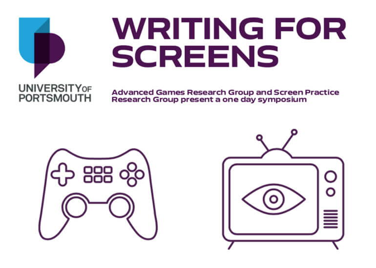 Excerpt for Writing for Screens poster with outline sketch of a joypad and a television set with an eye on screen