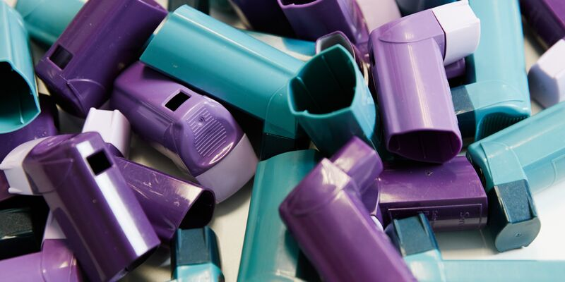 a collection of prescription inhalers