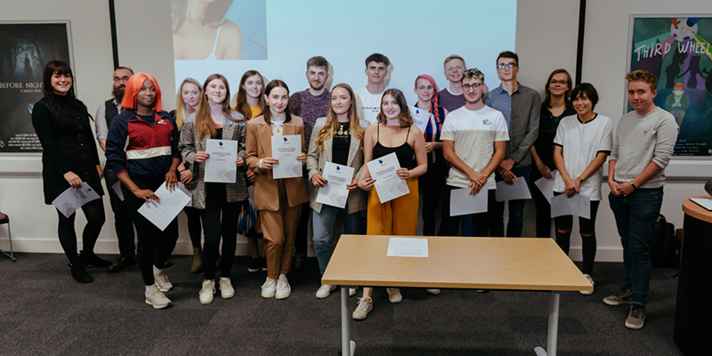 Students posing at the 2018/19 Student Placement awards