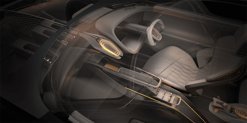 3D graphic of car interior, created by Emir Cetinoglu for Bentley