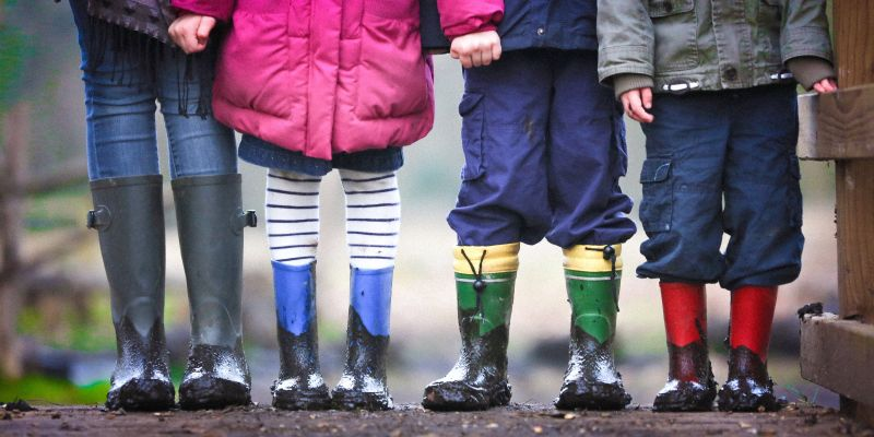 group of kids in wellies