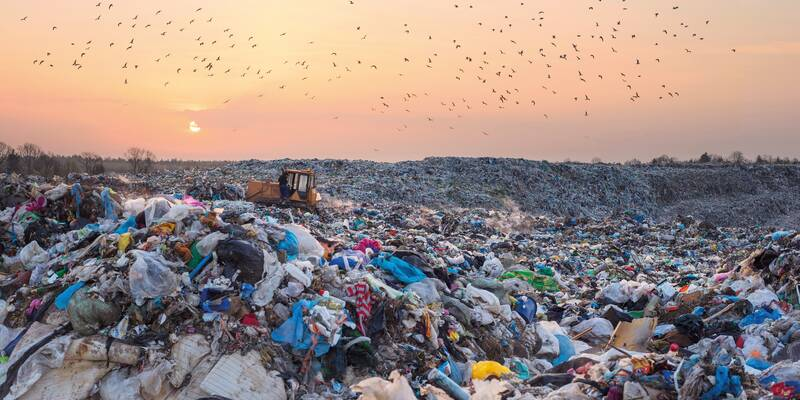 Landfill site with plastics in Europe