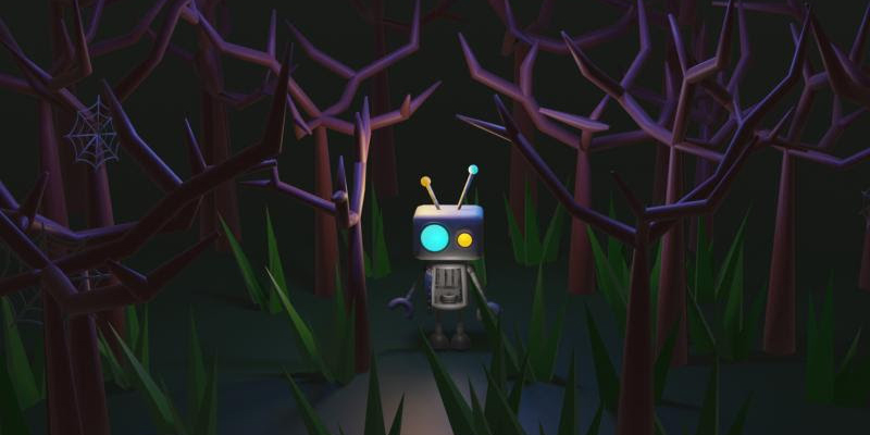 Animated robot standing in purple forest