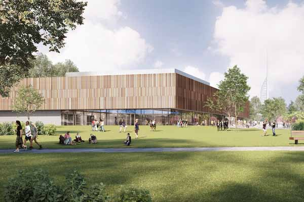 Rendered image of the new Ravelin park sports centre