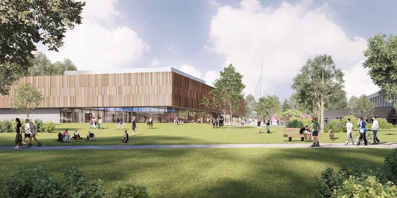 Rendered image of new sports centre