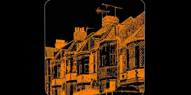 Orange outline of townhouses against black background