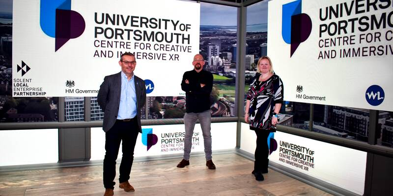 University staff launching the Centre for Creative and Immersive XR
