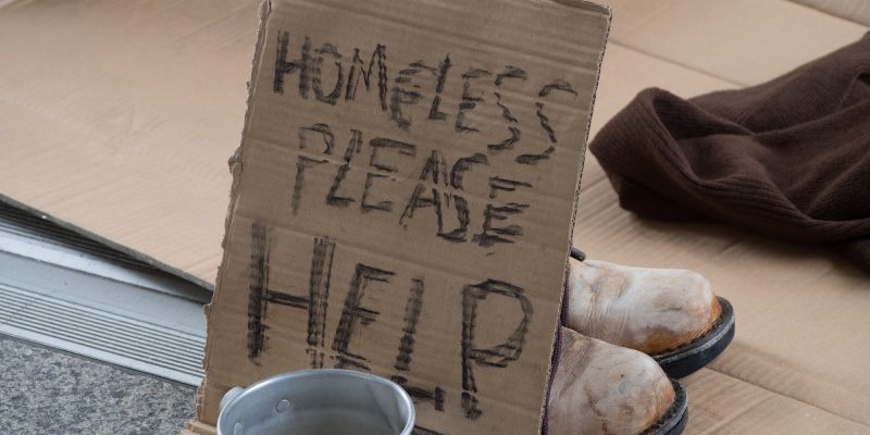 Image of homeless sign for help