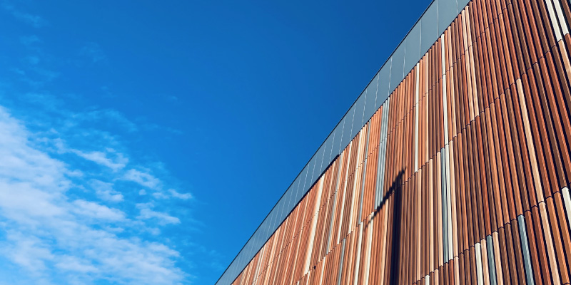 Close up of terracotta cladding on the new Ravelin Sports Centre