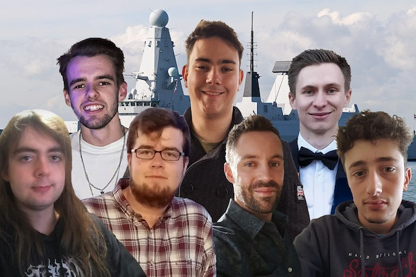 Seven male students from the Faculty of Creative and Cultural Industries with a Aircraft Carrier in the background