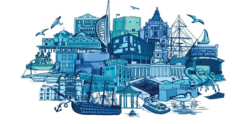 Illustration of Portsmouth landmarks for alumni graduation card, by BA Illustration graduate Kitty Turner.