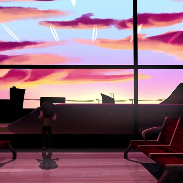 A 3D animated render of a girl in an empty airport lobby, looking out of the window into a ruddy sunset with an aeroplane in the foreground