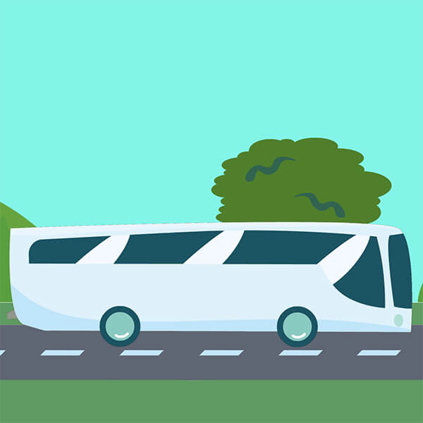 An illustration of a white coach driving down a road past green grass and hills, under a blue sky