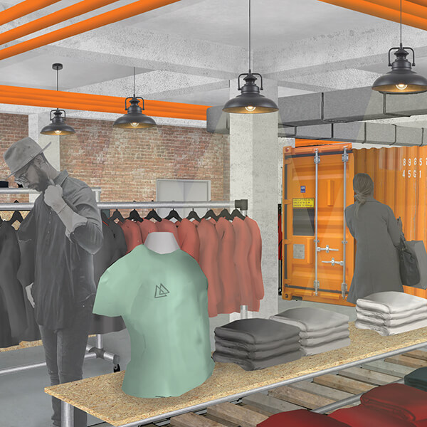 A 3D mockup of a store layout, featuring folded shirts on a front-facing shelf, a torso mannequin with a T-shirt, and racks of clothing at the back