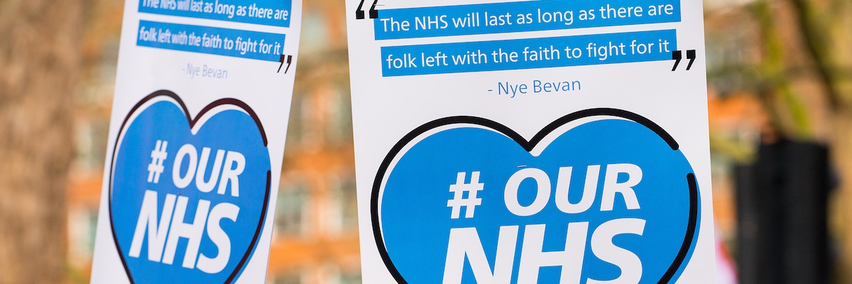 Save our NHS sign, London