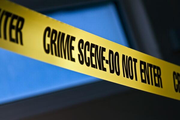 Yellow tape marking a crime scene
