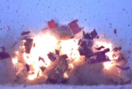 Explosion with debris flying