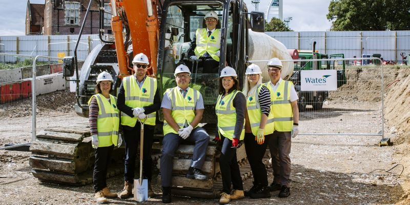 Wates and University staff at groundbreaking ceremony