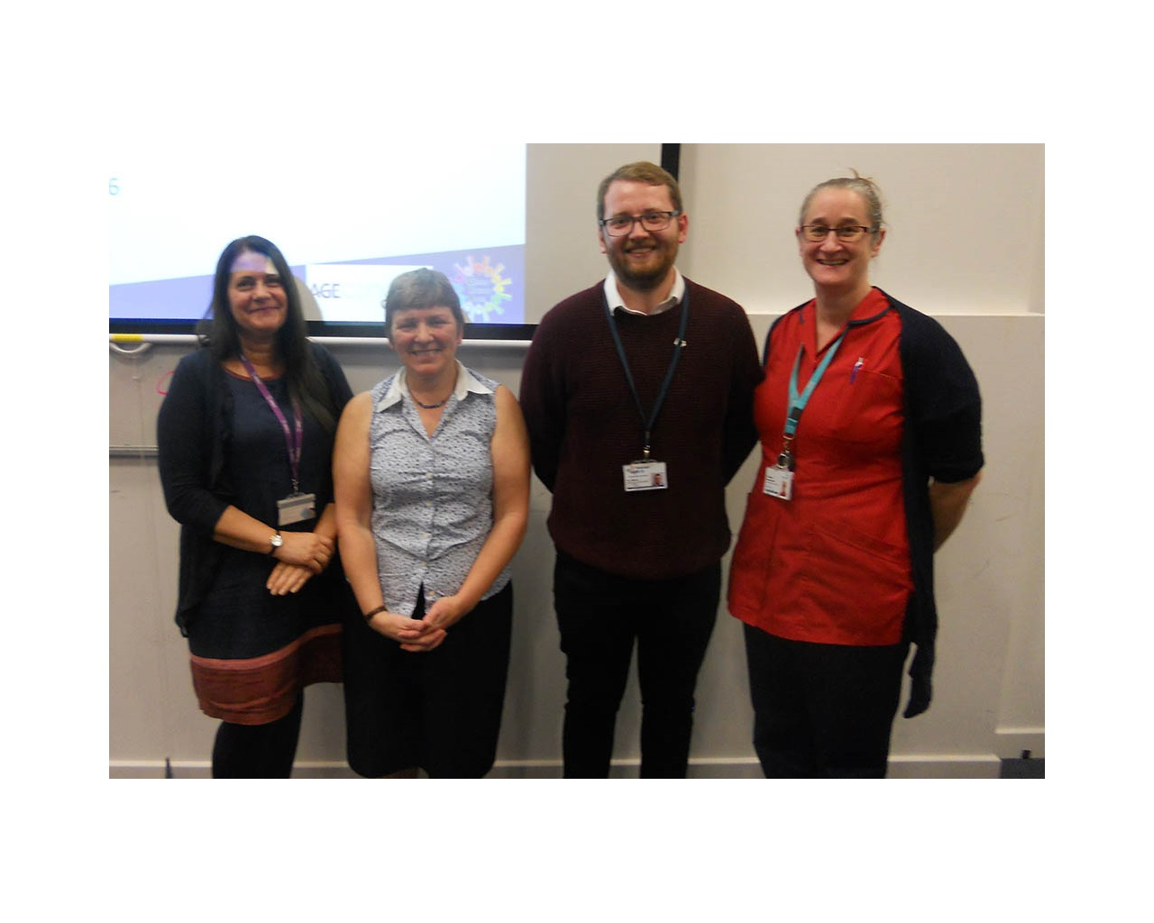 From left: Tracey Brickell, deputy course and placement lead at the University of Portsmouth, Gosport Voluntary Action project manager Angela Gill, Alex Massey from Age UK Portsmouth and Dr Aileen Murray-Gane, nurse consultant for older persons' mental health at Gosport War Memorial Hospital