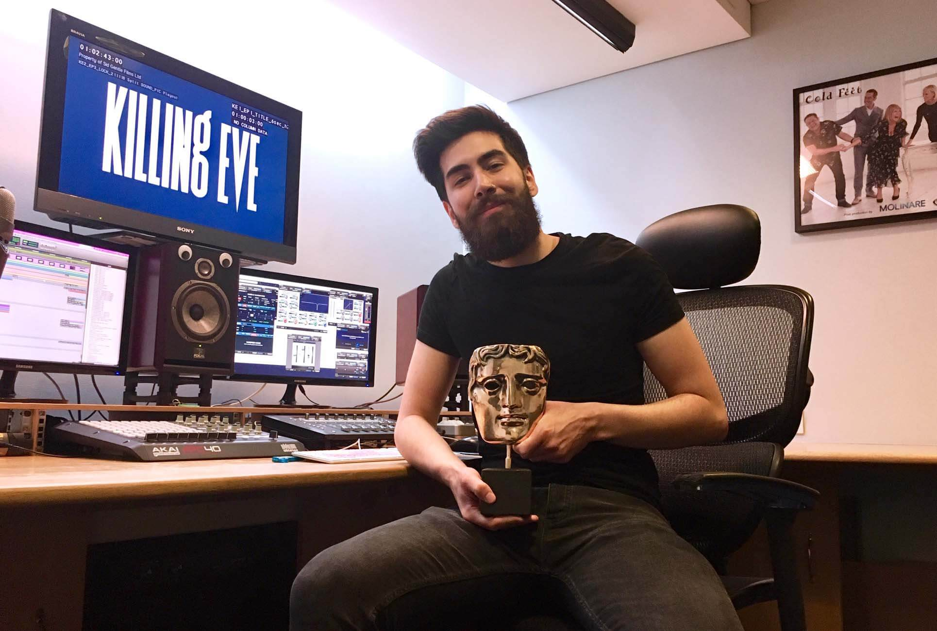 Graduate Alex Gibson with Bafta for Killing Eve