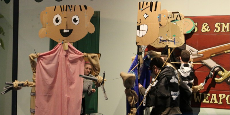 Cardboard pirate puppets in show