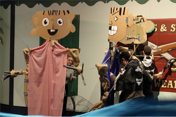Pirate puppets made from cardboard with coloured sheets