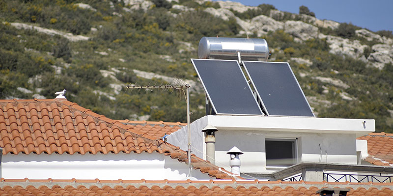 Hot water solar heating system, Greece