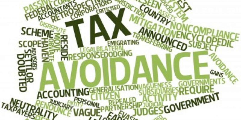 Word bubble about tax avoidance