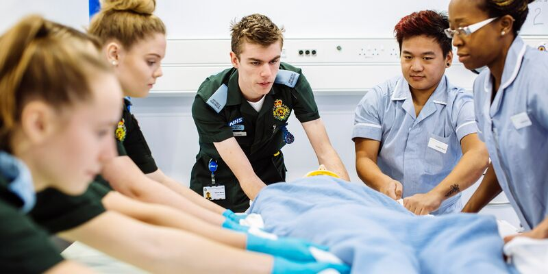 Paramedic and nursing students in training