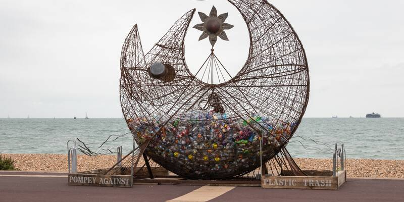 Portsmouth sculpture by Pete Codling filled with plastic bottles