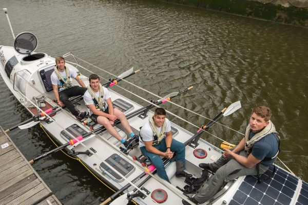 Photo of the team in boat