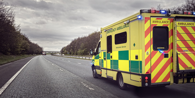 An ambulance on the road